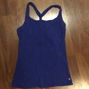 Blue workout racer back tank with built in bra